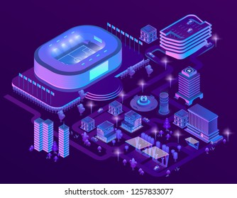 3d isometric megapolis with stadium. Sport arena in city in violet colors. Collection of skyscrapers, buildings with ultraviolet lighting. Streets with traffic - cars, automobiles