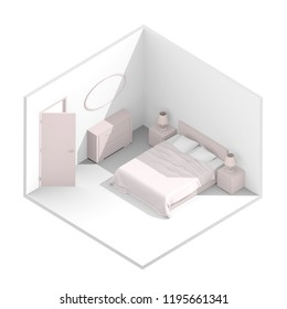 3d isometric rendering illustration of pink furnished bedroom