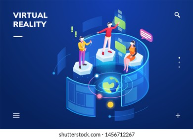 3d isometric room with people using virtual reality or immersive technology gadget. Man and woman using head-mounted VR with hologram. Cyber training and innovation. Smartphone screen, landing page