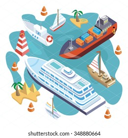 3d isometric set ships. Sea transport. Island and buoy, motorboat and containership, cruise and tanker, cargo shipping, boat transportation, ocean and vessel on white background. Raster version
