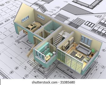 3D isometric view the cut residential house on architect?s drawing. Background image is my own.