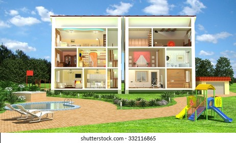3D isometric view of the cut residential house on the yard. Image with clipping path