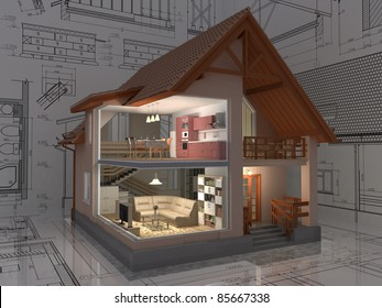 3D isometric view of the cut residential house on architect drawing. Image with clipping path.