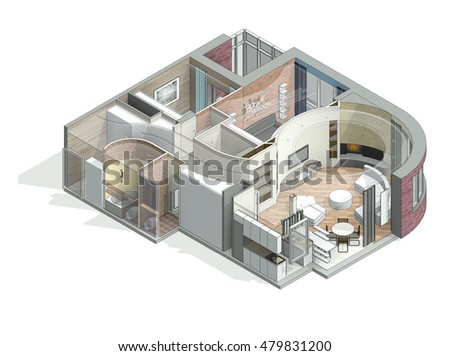 Royalty Free Stock Illustration Of 3 D Isometric View Cut