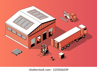 3d isometric warehouse with truck and forklift. Thin line style, transport logistics with storage building. Orange background with goods and repository. Commercial shipping.