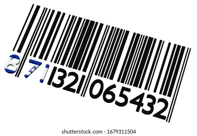 3d code-barres israélien sur fond blanc