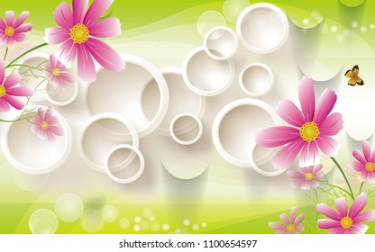 3D Ivory circular background wallpaper for walls.