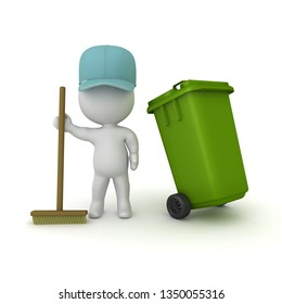 3D Janitor holding broom and having a wheelie bin. 3D rendering isolated on white.