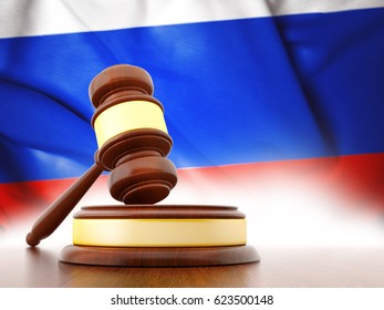 3D Judge Gavel with Flag of Russia. 3D Rendering