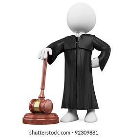 3D judge with robe and hammer. Rendered at high resolution on a white background with diffuse shadows.