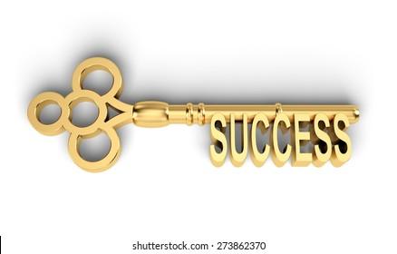 3D. Key, Success, Key To Success.