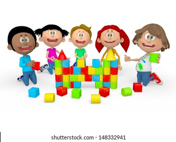 3D kids playing assembling things and looking very happy - isolated over white