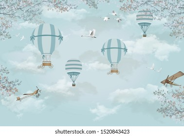 3d kids room wallpaper design with hot air ballons and birds on a sky background