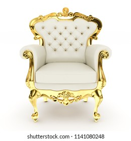 3d king's throne, royal chair on white background 3d illustration