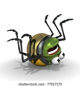 3d ladybird cartoon bug lying dead on its back