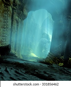 3D landscape illustration where we observe a cave with a portal in ruins and the sunlight illuminating part of the scene