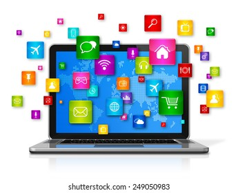 3D Laptop Computer with flying apps icons - isolated on white