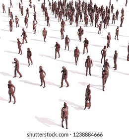 3d large group of people on white background
