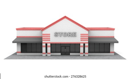 3d Large Store Building on a white background