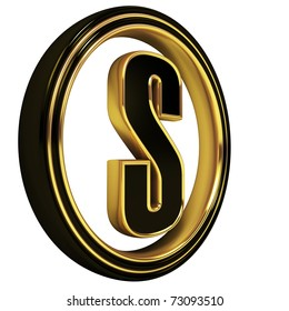 3D Letter s in circle. Black gold metal