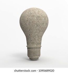 3D light bulb rendering with stone material illustration isolated on white background with cliping path for diecut to use in any backdrop