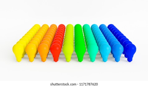 3D light bulbs of different colors on a white background. Concept of different kind of ideas. 3D Rendering.