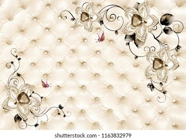 3D Light golden jewelry background wallpaper. 3D wallpaper.