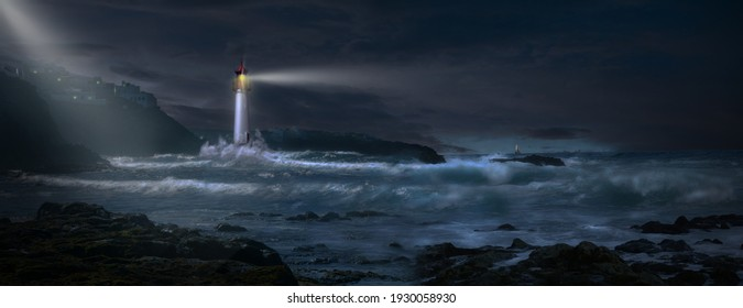 3D - Lighthouse with beacon on coast in stormy sea with sailboat on horizon