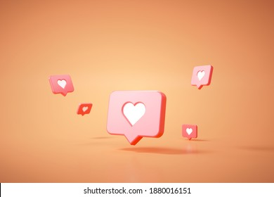 3D Like icon on an orange background, Social media concept 3D render illustration