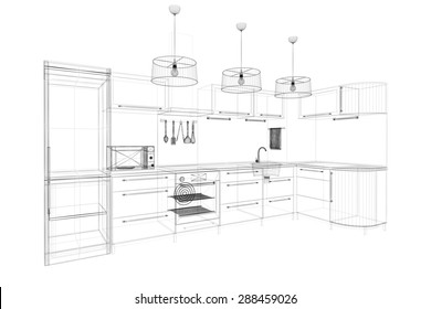 Kitchen Drawing Images Stock Photos Vectors Shutterstock