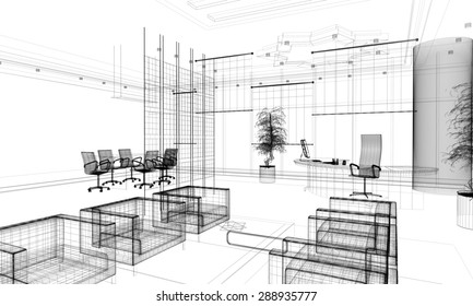 3d linear modern office interior