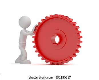 3d little man push red gear, isolated white background