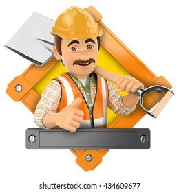 3d logo illustration. Worker with shovel. Isolated white background.