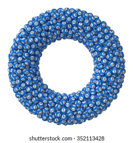 3d lotery balls stack.isolated on white.blue colored balls. torus formed stack version.