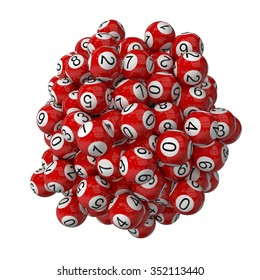 3d lotery balls stack.isolated on white.red colored balls.