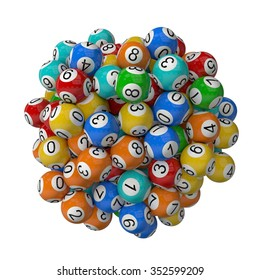 3d lotery balls stack.isolated on white. random colored balls.