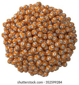 3d lotery balls stack.isolated on white. orange colored balls. big stack version.