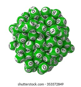 3d lotery balls stack.isolated on white. green colored balls.