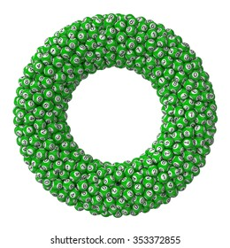 3d lotery balls stack.isolated on white. green colored balls. torus formed stack version.