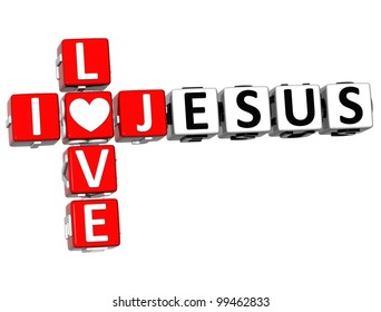 3D I Love Jesus Crossword Block text on white background