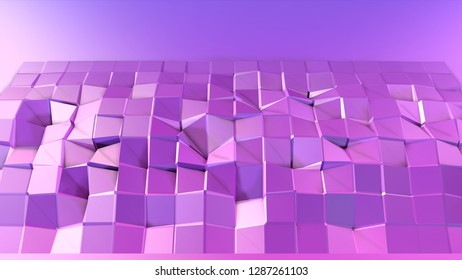 3d low poly abstract geometric background with modern gradient colors. 3d surface blue violet gradient colors. 1