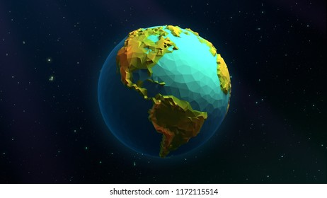 3D Low Poly Earth - North America & South America - Beautiful Illustration Over a Background of Stars