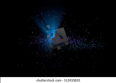3D Low Poly Geometry Background. Abstract Polygonal Geometric Shape. Futuristic object. Particles in space with broken cube and volumetric blue light from inside.