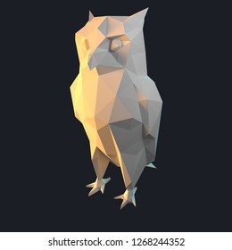 3d low poly graphic illustration of wildlife animal that is isolated, colorful, background design geometric concept style icon mammal origami paper folded  triangle silhouette owl bird shape