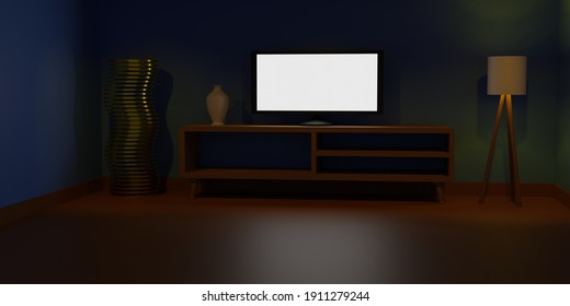 3D Low Poly TV Room, Illustration, with blue wall standing ligth, brown TV table, with Orange ligthning