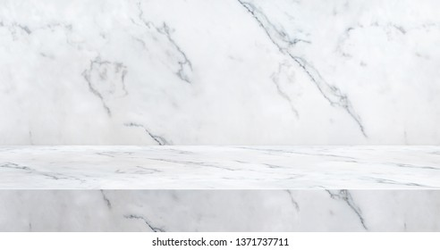 3D luxury marble table studio background textured for product display with copy space for display of content design.Banner for advertise product on website.3d rendering.