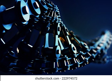 3d macro illustration of a bicycle chain in the form of DNA with depth of field blur effects
