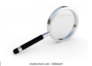 3d magnifier glass isolated on white