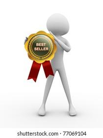3d man with best seller medal