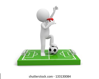 A 3d man Blowing his whistle on a football field model, a football below his foot